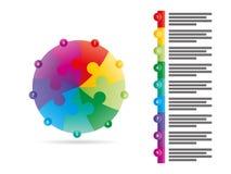 Regnbågespektret färgade den nio sidmallen för diagrammet för vektorn för pilpusselpresentationen infographic med det förklarande Arkivfoto