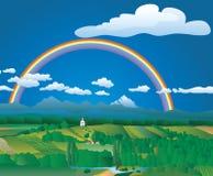 regnbågevectorland Arkivbild