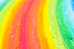 regnbåge s för hand för barncrayonteckning tecknad Fotografering för Bildbyråer