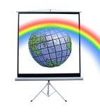Regnbåge till och med projektorskärmen Arkivfoton