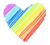 Regnbågen färgar att dra slår hjärta formar Royaltyfri Fotografi