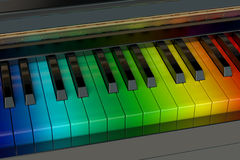 Regnbågepianot Arkivfoto