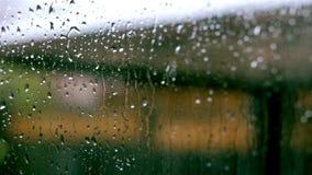 Regndroppar på en fönsterruta stock video