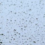 Regndroppar på ett fönster, fyrkantigt och blåaktigt royaltyfri bild