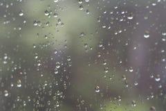 Regndroppar på genomskinligt exponeringsglas Royaltyfri Bild