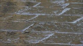 Regndroppar som faller till kullersten lager videofilmer