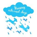 Regnen der Katzen und der Hunde vektor abbildung