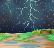 Regnen in der Naturlandschaft stock abbildung