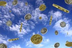 Regnen des Geldes Stockfoto