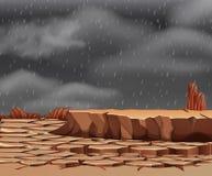 Regnen am droughty Land vektor abbildung