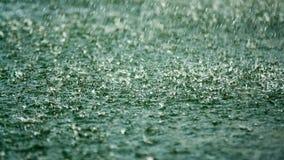 Regnen Sie die Tropfen, die auf die Oberfläche des Sees fallen stock video footage