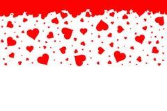 Regnen von roten Herzen mit weißem Hintergrund Stockfotos