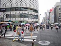 Regnerische Ginza-Straßen-Überfahrt lizenzfreie stockfotos