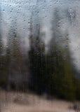 Regnerische Herbstlandschaft durch ein Fenster mit Regentropfen Lizenzfreie Stockbilder