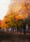 Regnerische Herbstlandschaft durch ein Fenster mit Regentropfen Stockbilder