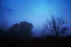 Regnerische Herbstlandschaft durch ein Fenster mit Regentropfen Stockbild