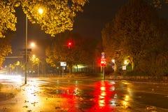 Regnerische Nacht in Baden-Baden Stockfoto