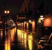 Regnerische Nacht in Portland, Oregon Lizenzfreies Stockbild