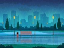 Regnerischer Tagespark Regnen von Regenstadtnaturjahreszeitwegbank-Straßenlaternelandschaft des allgemeinen Parks, flacher Vektor lizenzfreie abbildung