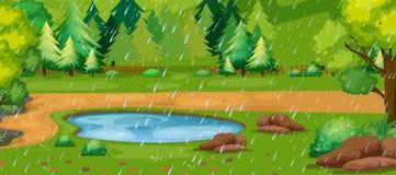 Regnerischer Tagesszene mit Teich im Park stock abbildung