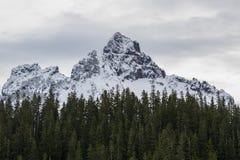 Regnerischerer niedriger Schneefall Mt auf nahes durch Spitzen Stockfoto