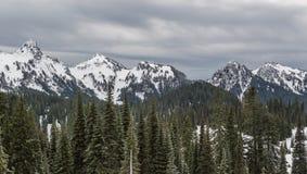 Regnerischerer niedriger Schneefall Mt auf nahes durch Spitzen Stockbild