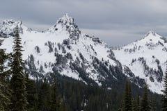 Regnerischerer niedriger Schneefall Mt auf nahes durch Spitzen Stockfotografie