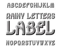 Regnig bokstavsetikettstilsort Svart kontrastera stilsort Isolerat engelskt alfabet Vektor Illustrationer