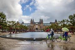 Regnig dag i Amsterdam Royaltyfria Bilder
