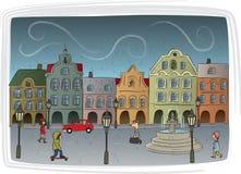Regnig dag i townen Royaltyfria Bilder