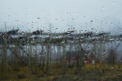 Regnig dag på Lofotenen Arkivfoton