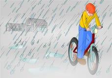 Regnig dimmig cykel Royaltyfri Bild
