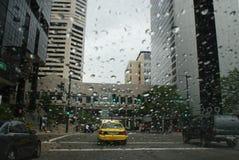 Regnig gata Royaltyfria Foton
