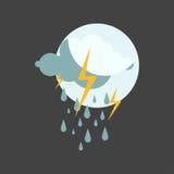 Regnig molnig symbolsvektor för väder Arkivbilder