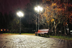 Regnig natt för höst med den ensamma bänken under fallande höstregn - natthöstlandskap Royaltyfria Foton