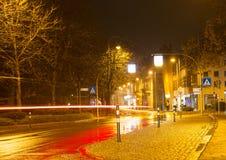 Regnig natt i Baden-Baden Arkivbilder
