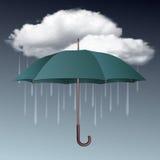 Regnig vädersymbol med moln och paraplyet Arkivfoto