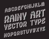 Regniga Art Vector Typeface Vit kontrastera stilsort Isolerat engelskt alfabet Stock Illustrationer