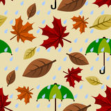 Regniga Autumn Seamless Pattern Royaltyfria Bilder