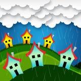 Regniga hus indikerar den bungalowegenskapen och lägenheten Fotografering för Bildbyråer