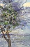 Regnigt landskap med havs-, himmel- och conkervattenfärgbakgrund stock illustrationer