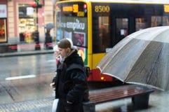 Regnigt väder i warsaw royaltyfria foton