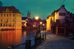 Regnitz quay and Imperial cathedral in Bamberg Royalty Free Stock Images