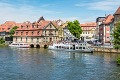 Regnitz river in Bamberg, Germany Royalty Free Stock Image