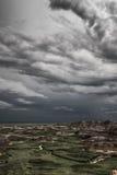 Regnmoln över Badlands nationalpark, South Dakota Arkivfoton
