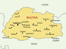 Regno del Bhutan - mappa di vettore Fotografie Stock Libere da Diritti