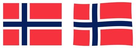 Regno della bandiera di Norvegia Versione semplice e leggermente d'ondeggiamento royalty illustrazione gratis