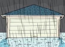 Regnstorm och garage Royaltyfri Foto