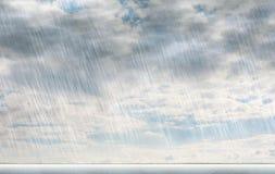Regnstormbakgrunder i molnigt väder stock illustrationer
