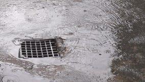 Regnvatten som ner in flödar till stormavrinningen stock video